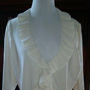 Jones New York ruffle front knit shrug, EUC, 2X